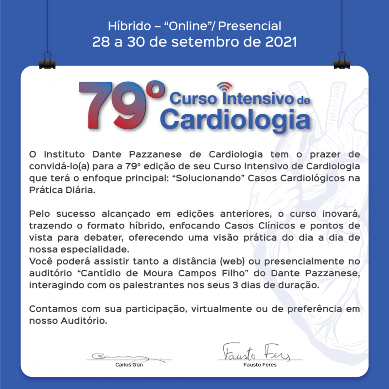 79º Curso Intensivo de Cardiologia - 28 a 30 de setembro de 2021